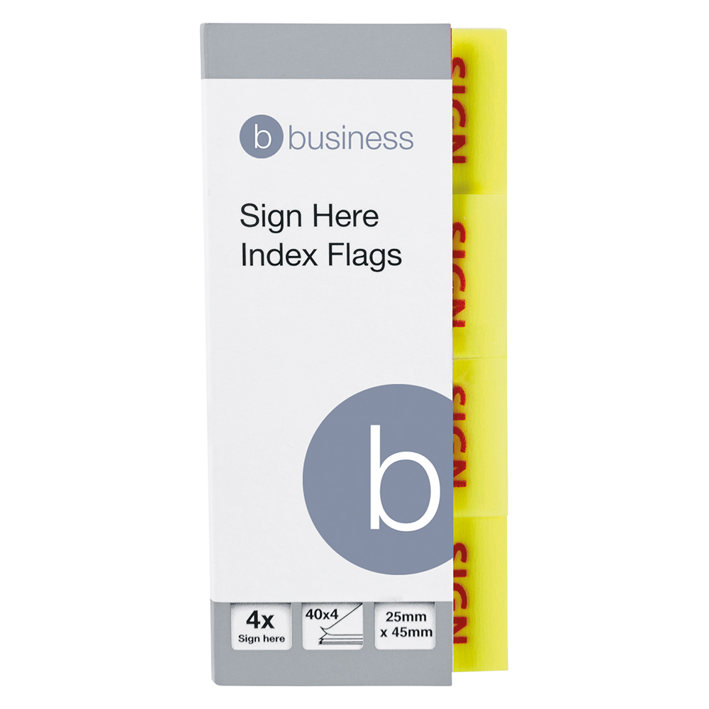 Business Sign Here Index Flags 25 x 45mm 40 Sheets per Pad (Pack of 5)