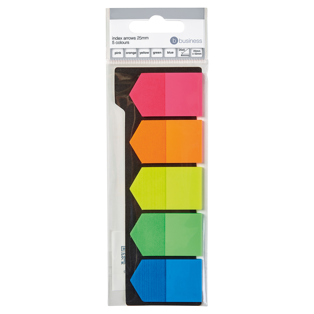 Business Index Arrows 25mm 5 Bright Colours 25 Flags per Colour (Pack of 5)