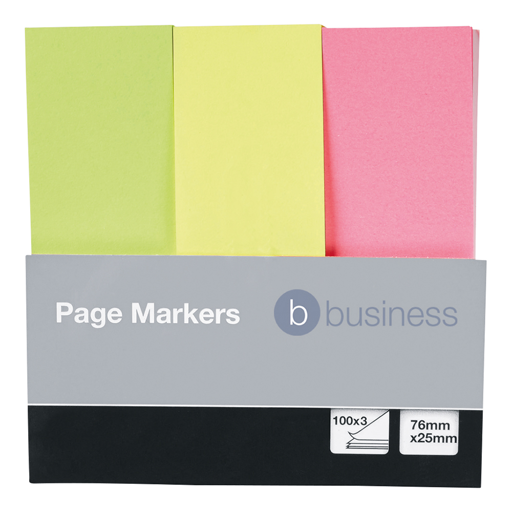 Business Page Markers 25 x 76mm 3 Brilliant Colours 100 Flags per Colour (Pack of 1)