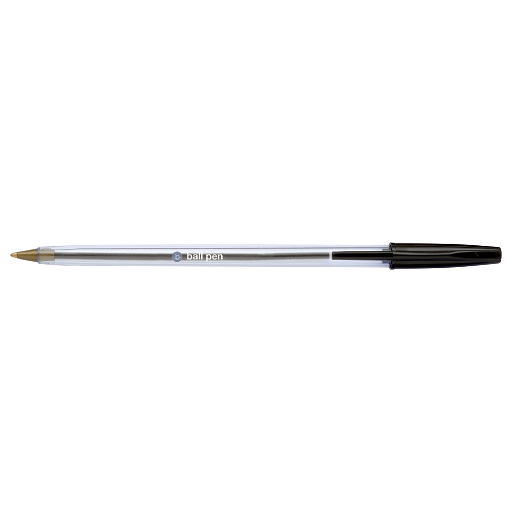 Business Medium Clear Ballpoint Pens Black (Pack of 50)