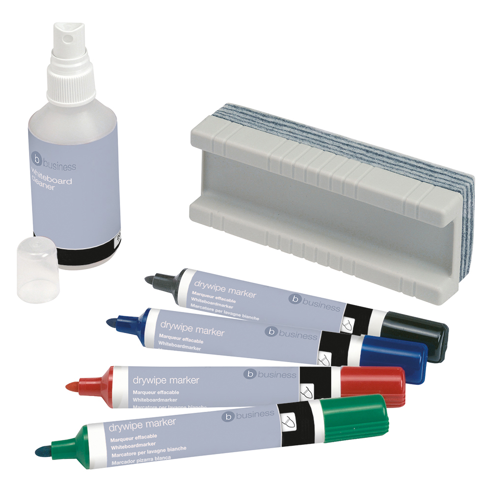 Business Office Drywipe Starter Kit 4 Asst Whiteboard Markers/Eraser/125ml Whiteboard Cleaning Fluid Spray