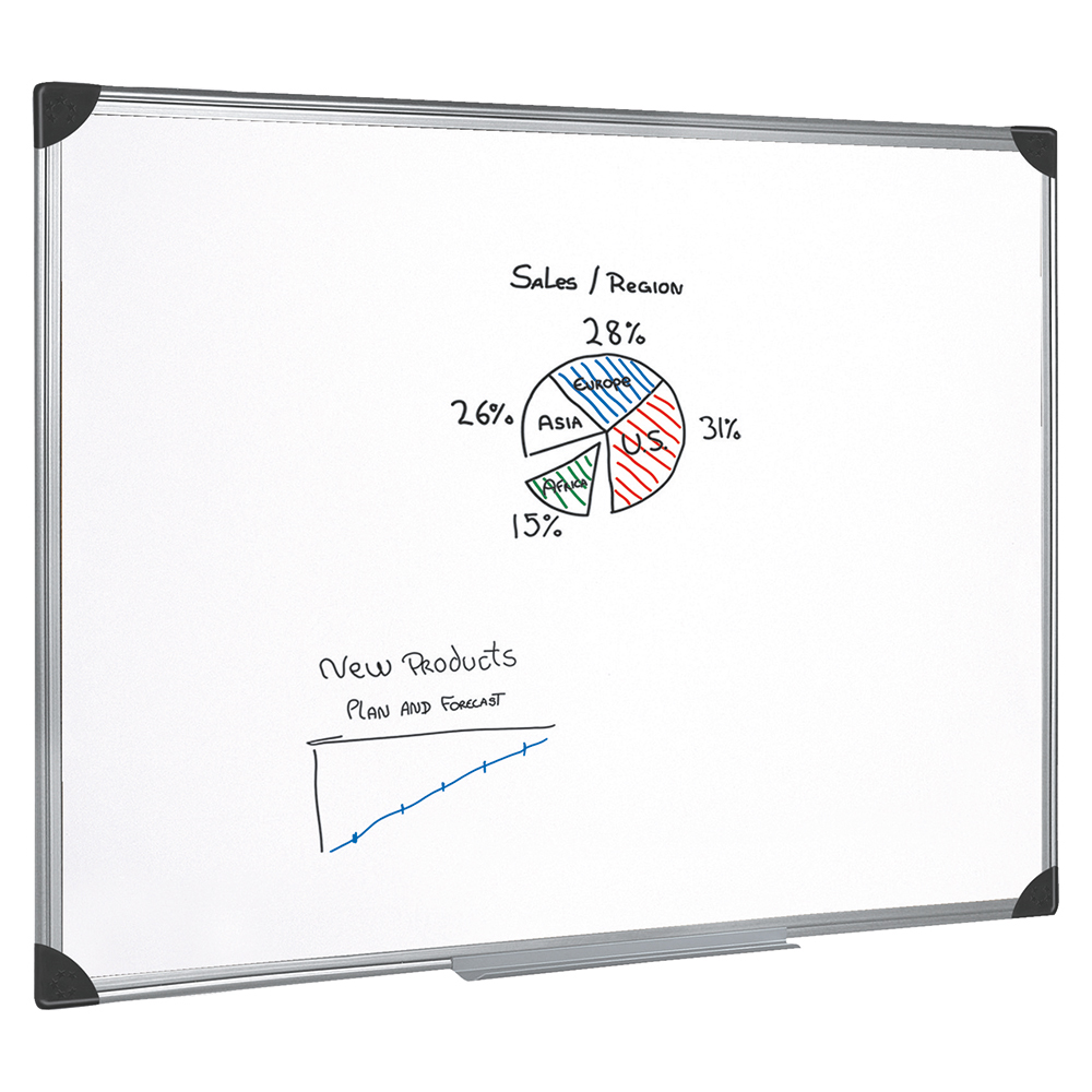Business Office Whiteboard Drywipe Magnetic with Pen Tray and Aluminium Trim W900xH600mm