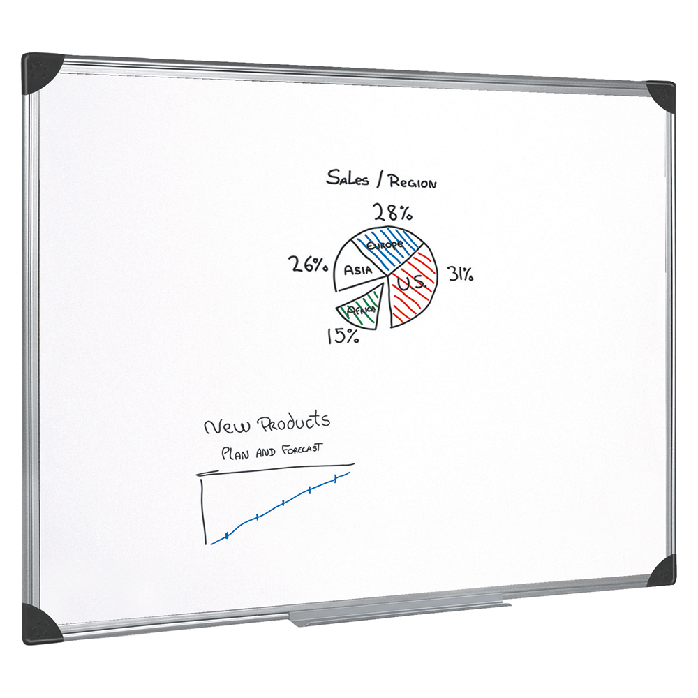business Office Whiteboard Drywipe Magnetic with Pen Tray and Aluminium Trim W1200xH900mm