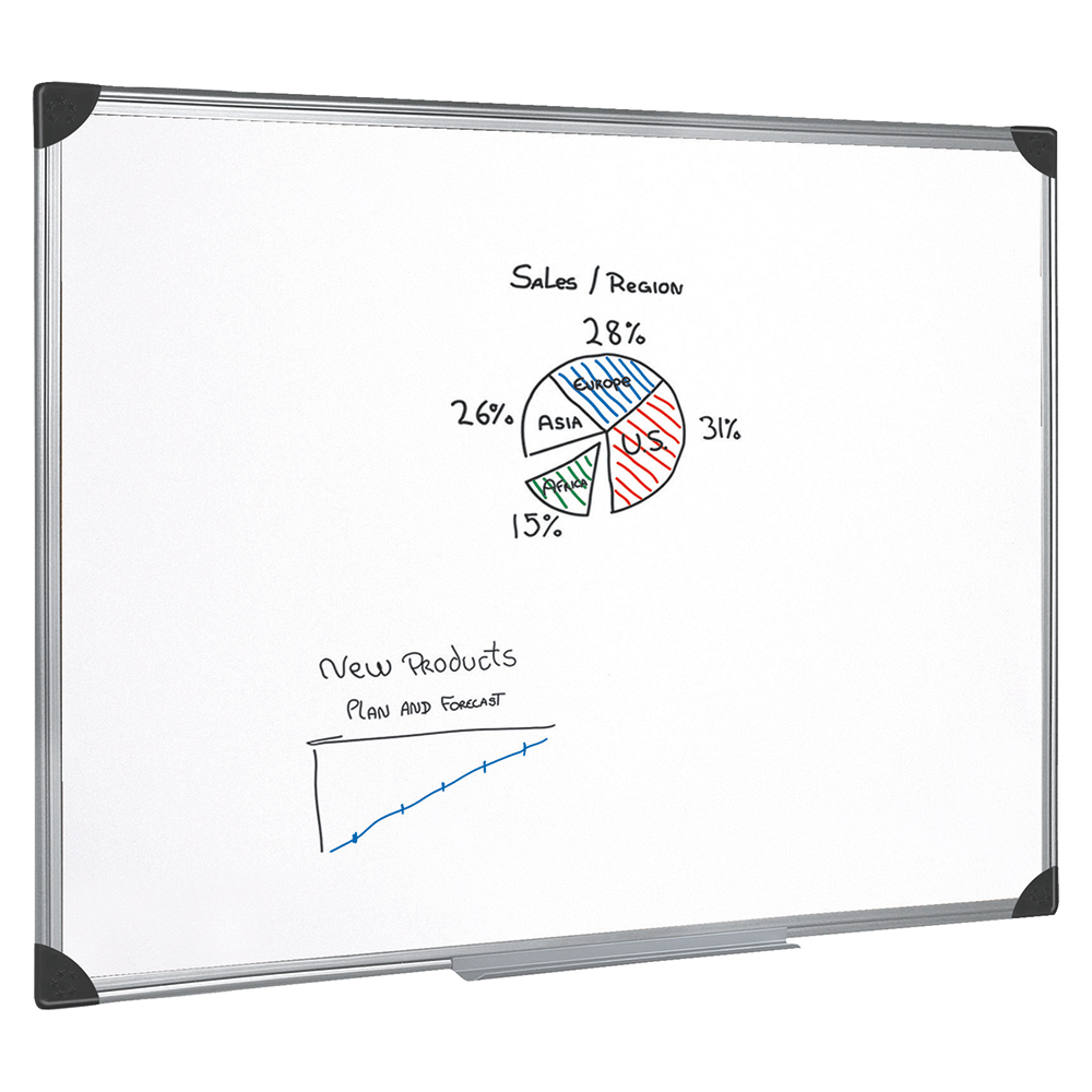 Business Magnetic Drywipe Board with Aluminium Frame 1200 x 1800mm (Pack of 1)