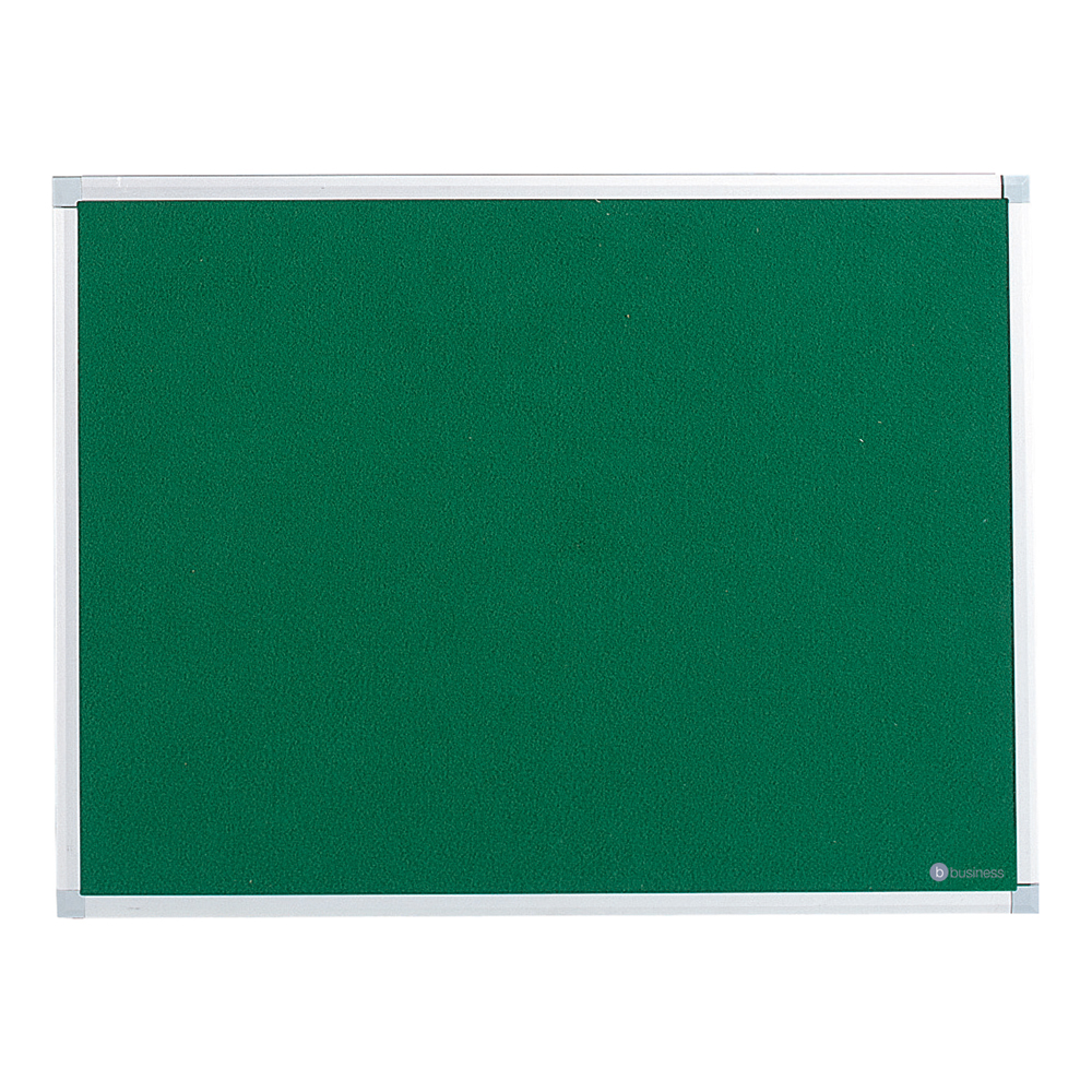 Business Felt Noticeboard with Aluminium Trim 600 x 900mm Green (Pack of 1)