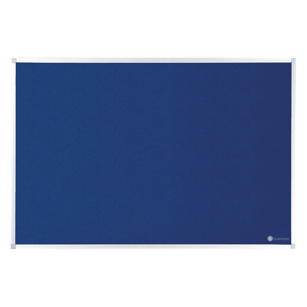 Business Felt Noticeboard with Aluminium Trim 900 x 1200mm Blue (Pack of 1)