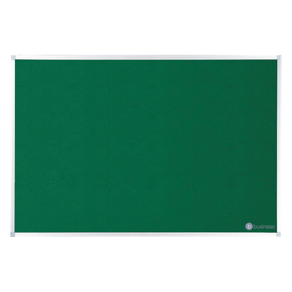Business Felt Noticeboard with Aluminium Trim 900 x 1200mm Green (Pack of 1)