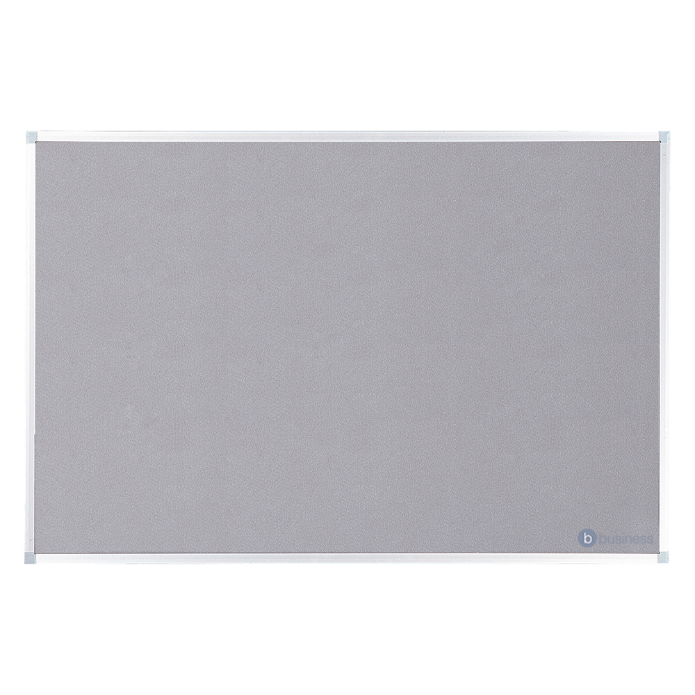 Business Felt Noticeboard with Aluminium Trim 900 x 1200mm Grey (Pack of 1)