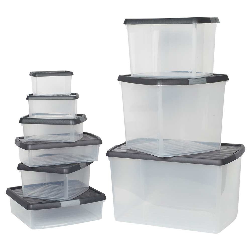 Business Premium Storage Clip Box with Lid 9 Litre Clear (Pack of 1)