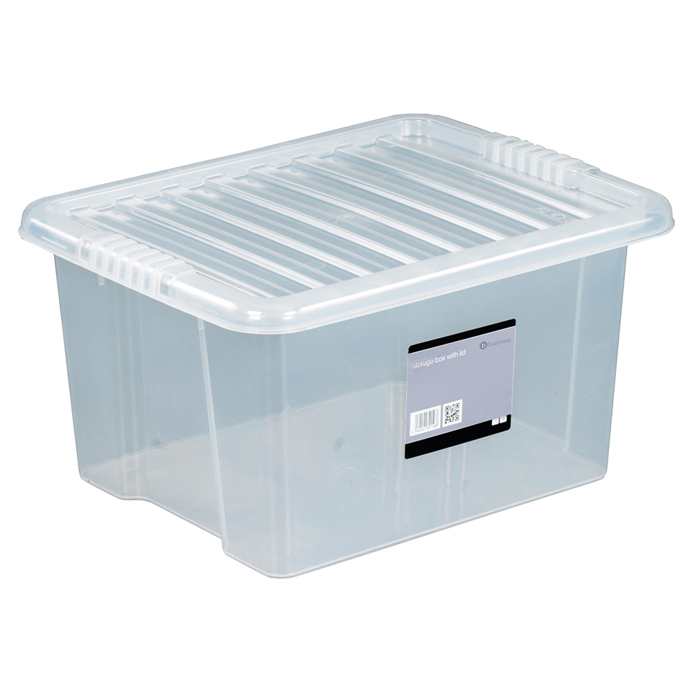 Business Office Storage Box Plastic with Lid Stackable 35 Litre Clear