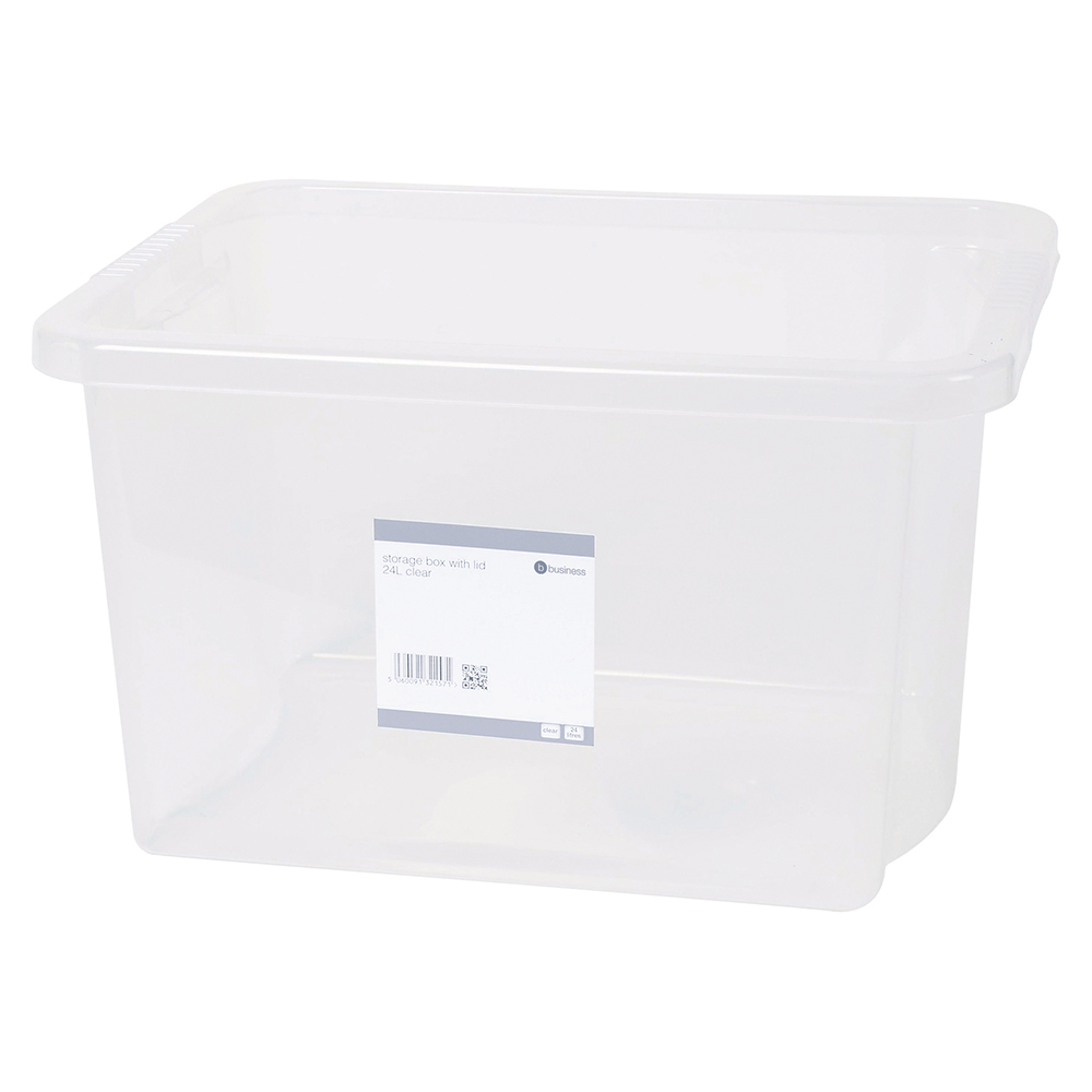 Business Office Storage Box Plastic with Lid Stackable 24 Litre Clear