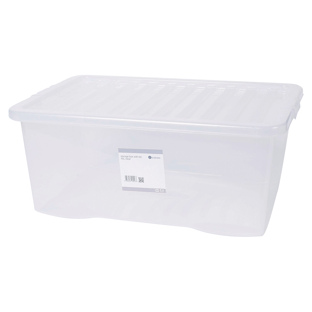 Business Clear 45L Plastic Storage Box with Lid