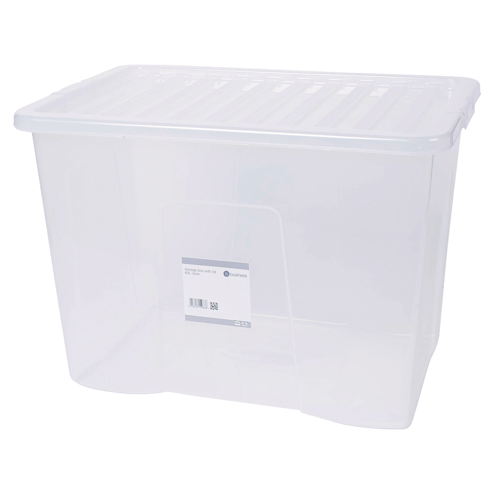 Business Office Storage Box Plastic with Lid Stackable 80 Litre Clear