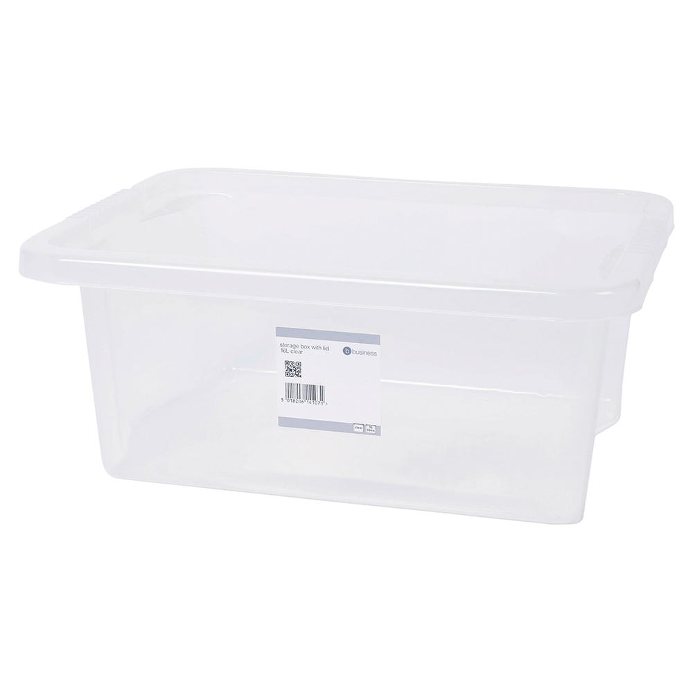 Business Clear 16L Plastic Storage Box with Lid