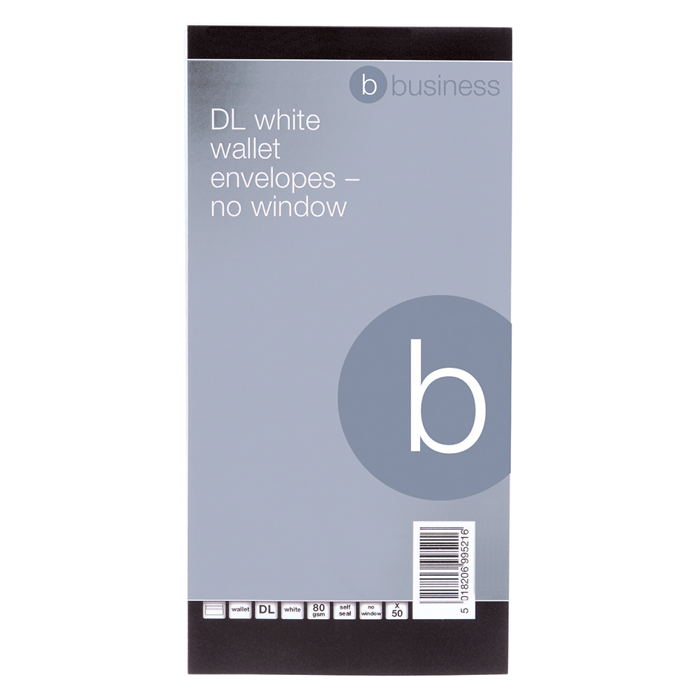 business Office Envelopes PEFC Wallet Self Seal 80gsm DL 220x110mm White Retail Pack Pack 50