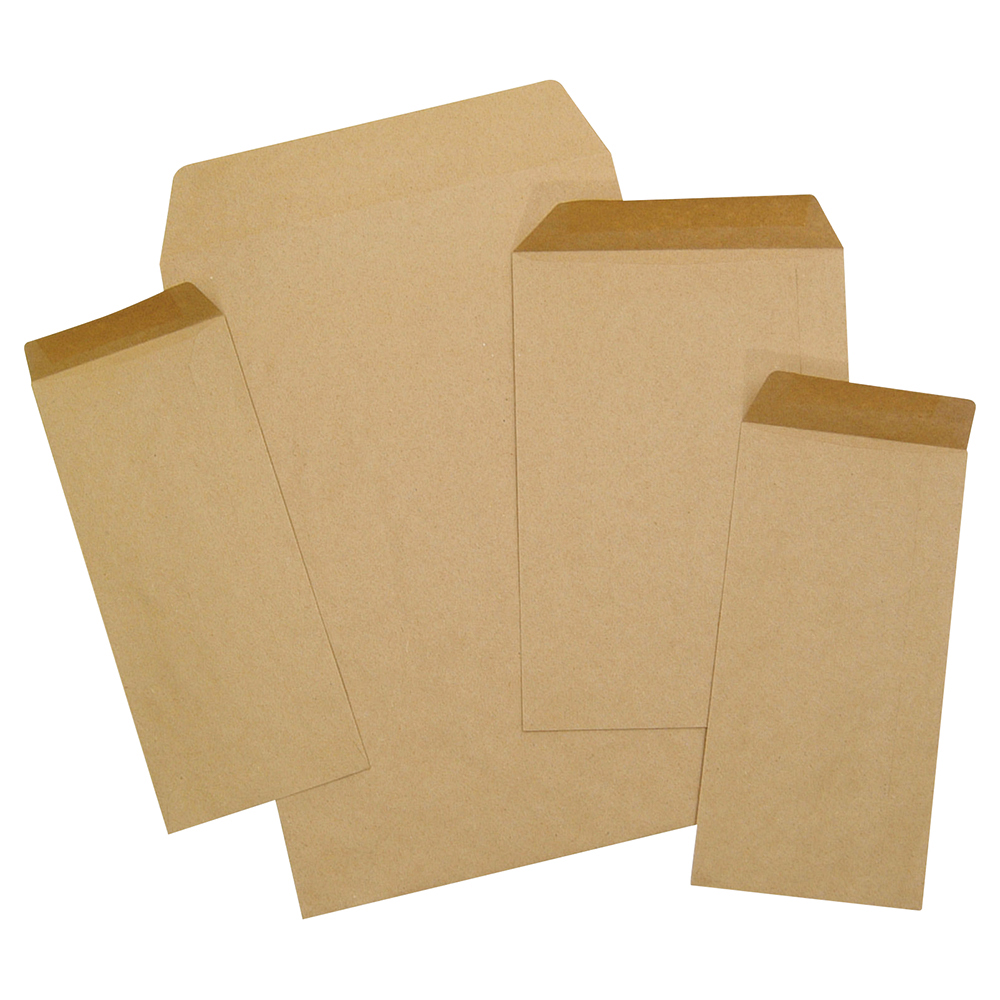 business Office Envelopes FSC Pocket Recycled Gummed 80gsm DL 220x110mm Manilla Pack 1000