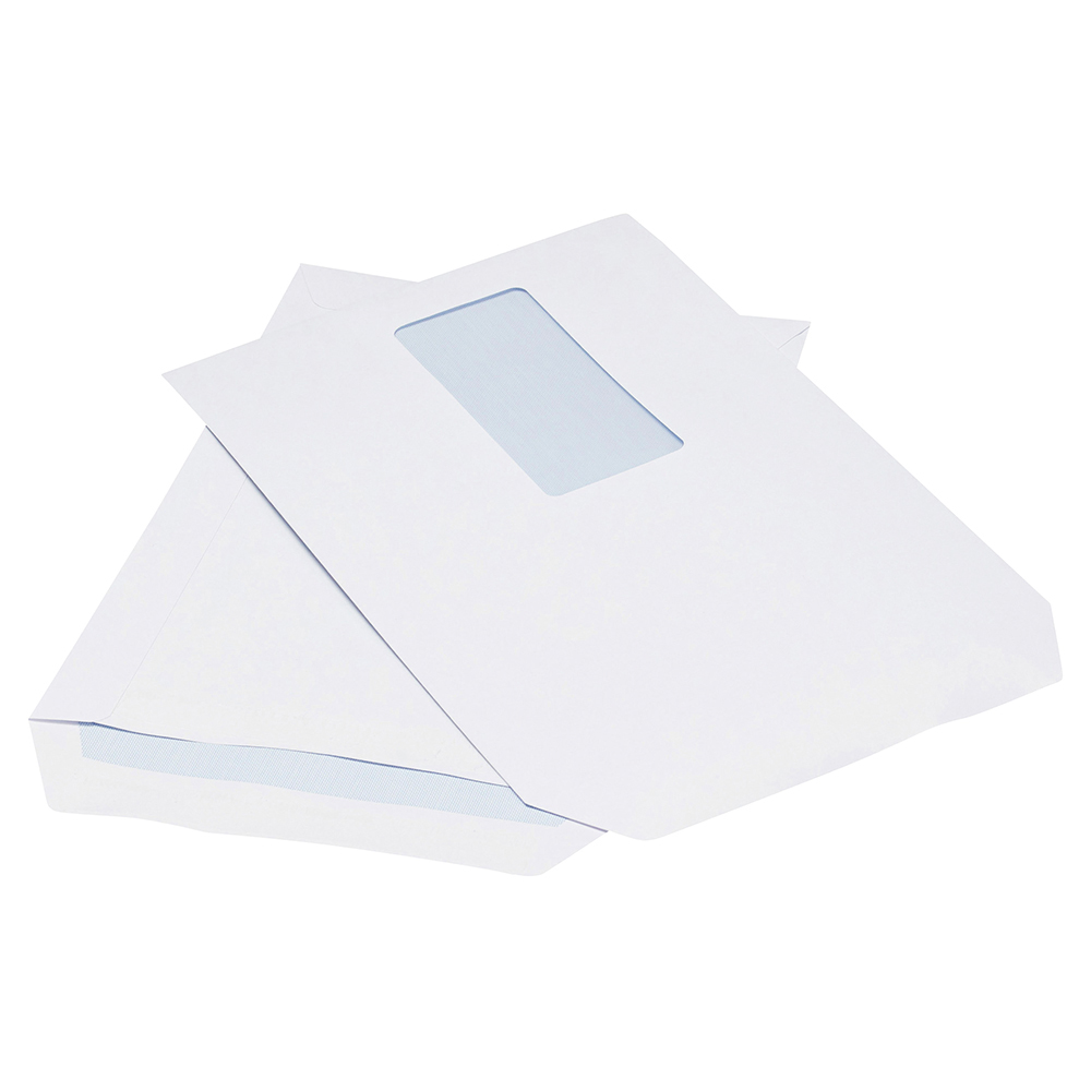 Business Office Envelopes PEFC Pocket Self Seal Window 90gsm C5 229x162mm White Pack 500