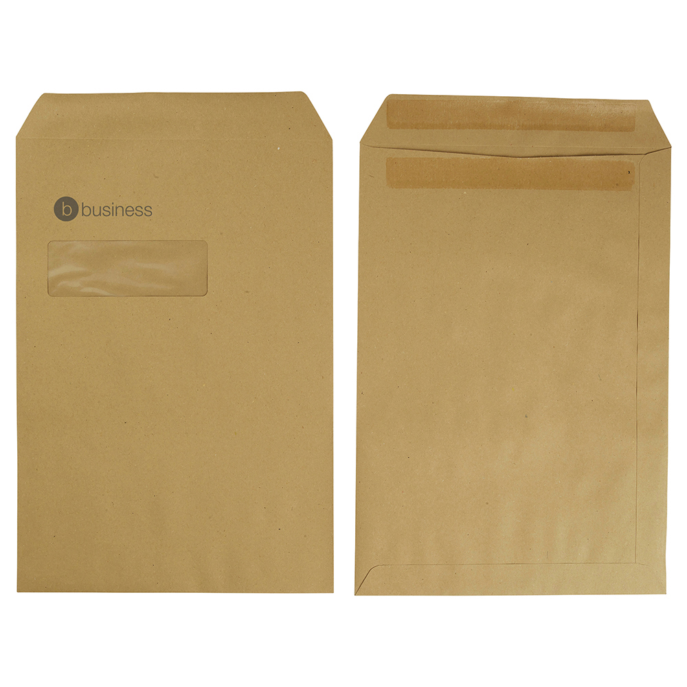 Business Office Envelopes PEFC Pocket Self Seal Window 90gsm C4 324x229mm Manilla Pack 250