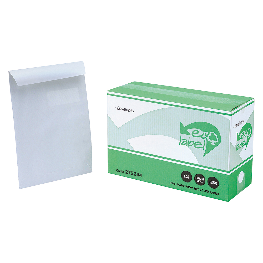Business Eco Pocket Window Envelopes C4 90gsm Self Seal White (Pack of 250)