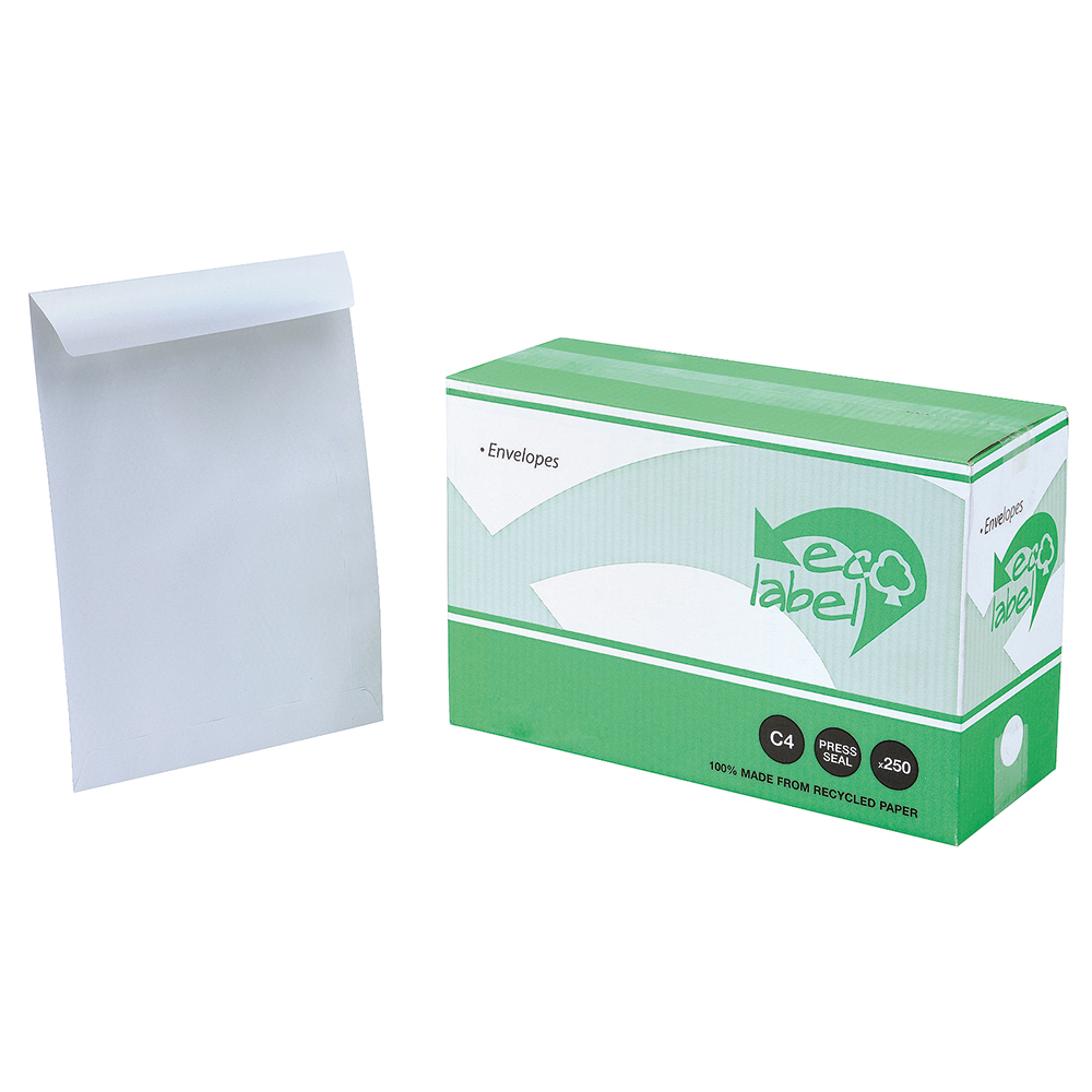 Business Eco Envelopes Recycled Pocket Self Seal 100gsm C4 324x229mm White Pack 250