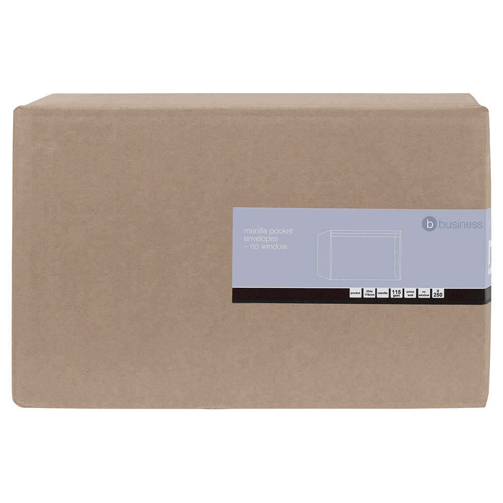 Business Pocket Envelopes 254 x 178mm Heavyweight 115gsm Self Seal Manilla (Pack of 250)
