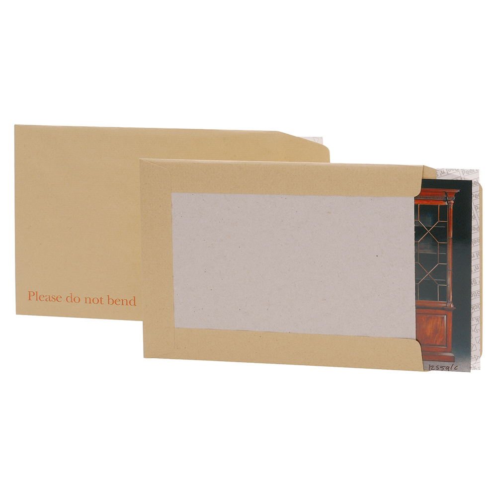 Business Office Envelopes Recycled Board Backed Hot Melt Peel & Seal 241x178mm 120gsm Manilla Pack 125
