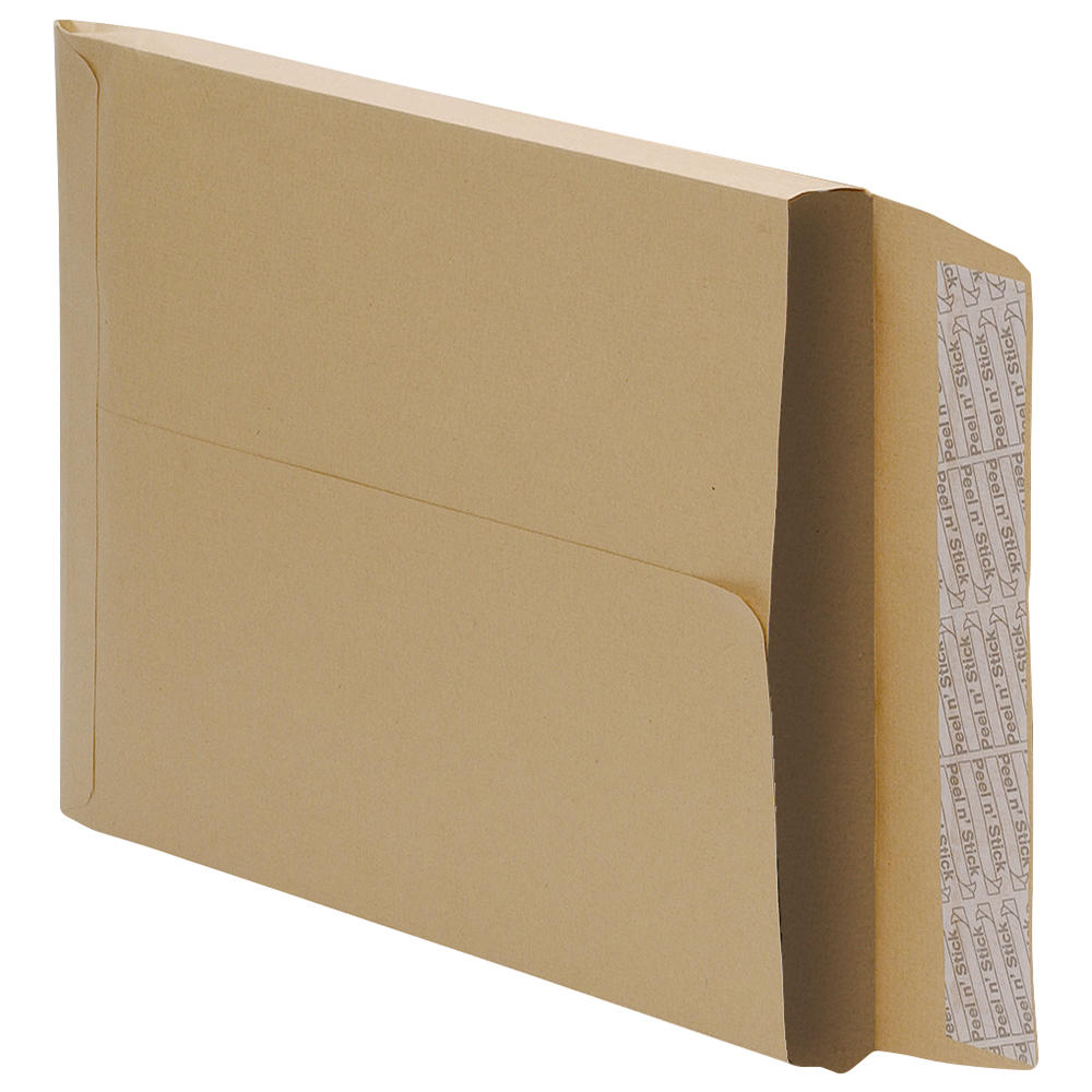 Business Gusset Envelopes 406 x 305mm 25mm 115gsm Peel and Seal Manilla (Pack of 125)