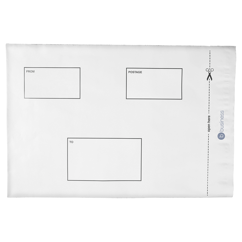 Business Premium Extra Strong Waterproof Polythene Envelopes 250 x 320mm Peel and Seal Opaque (Pack of 100)