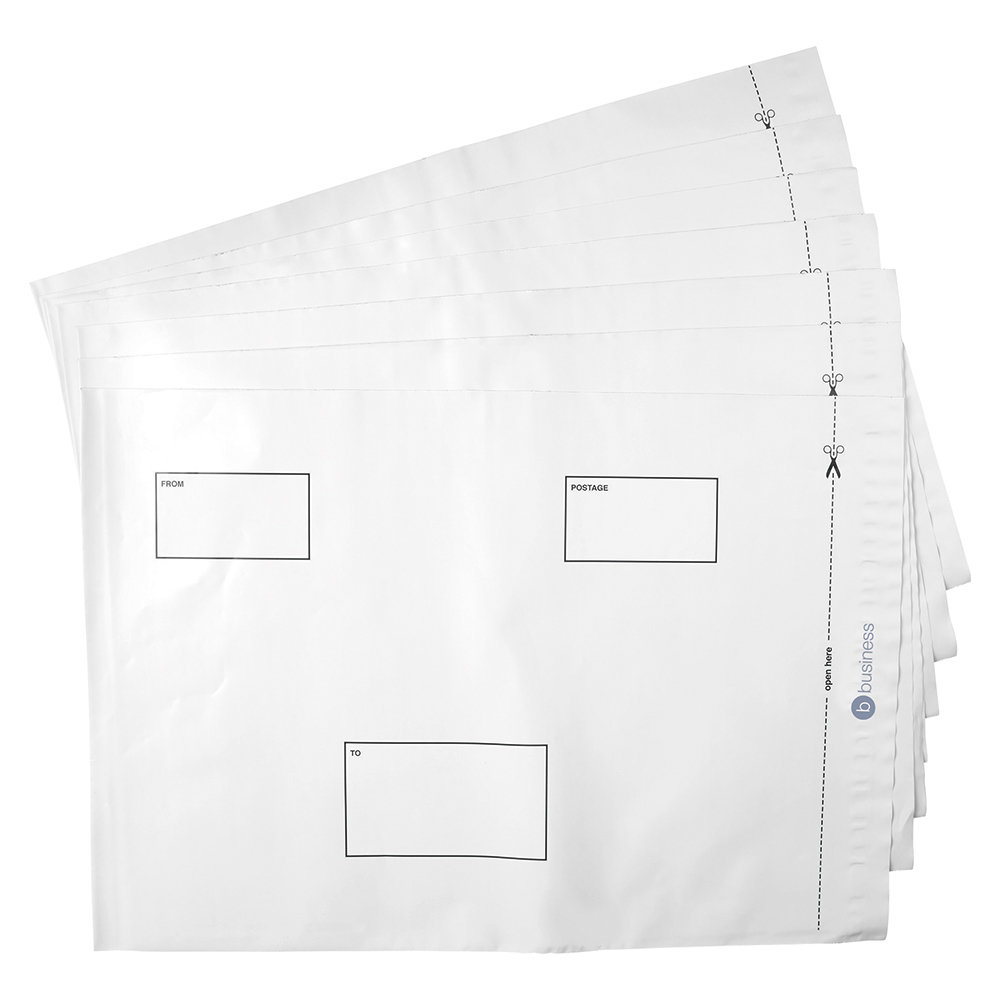 Business Elite Envelopes ExtraStrong Waterproof Polythene Peel & Seal Opaque 335x435mm&50mm Flap Pack 100