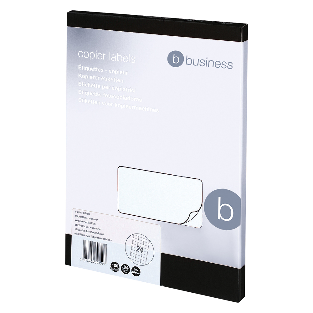 Business Office Multipurpose Labels Laser Copier Inkjet 24 per Sheet 70x37mm White 2400 Labels
