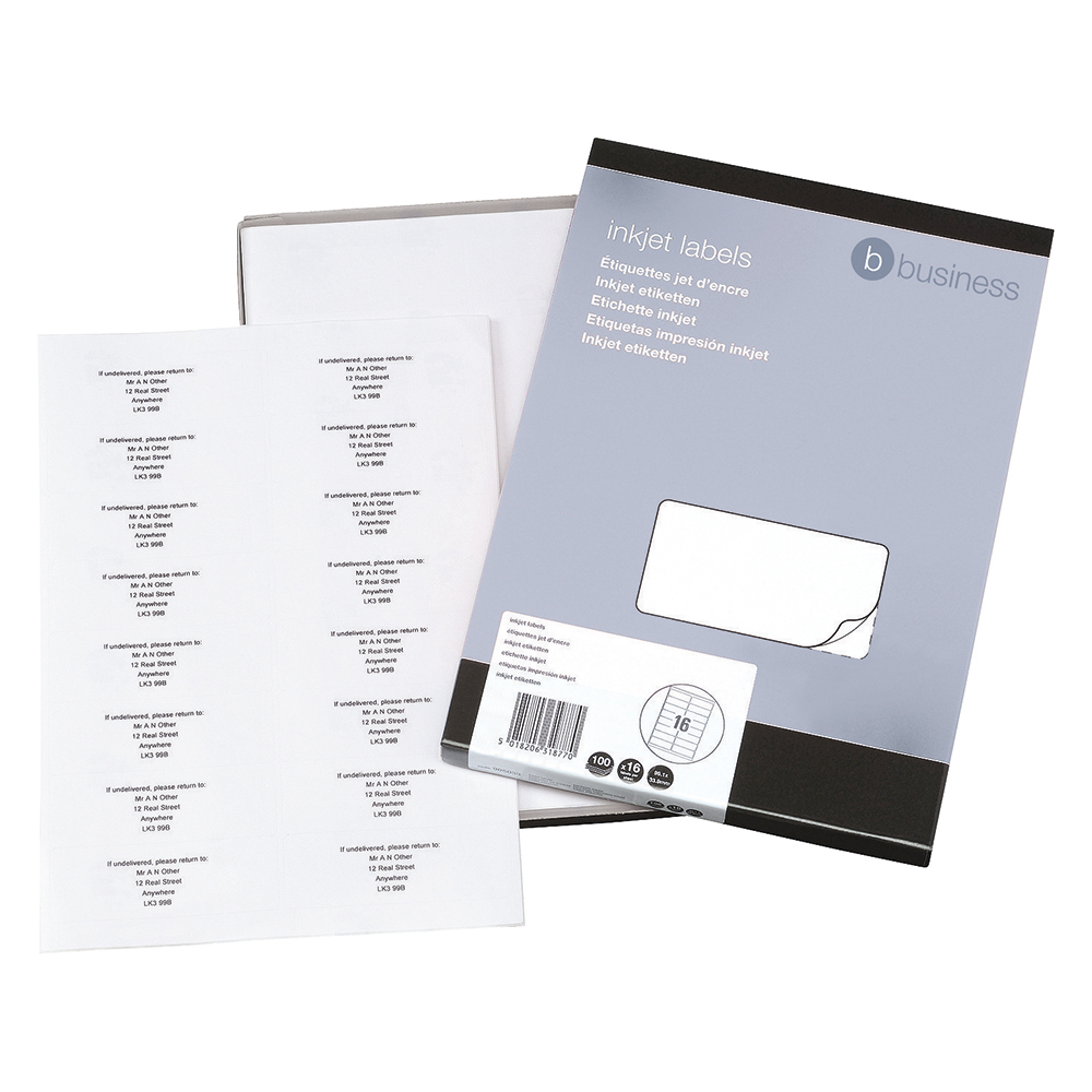 Business Office Addressing Labels Inkjet 16 per Sheet 99.1x34mm White 1600 Labels