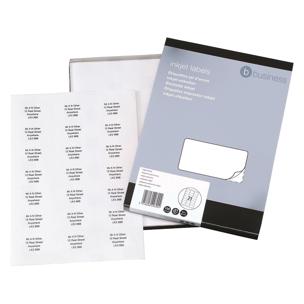 Business Office Addressing Labels Inkjet 21 per Sheet 63.5x38.1mm White 2100 Labels