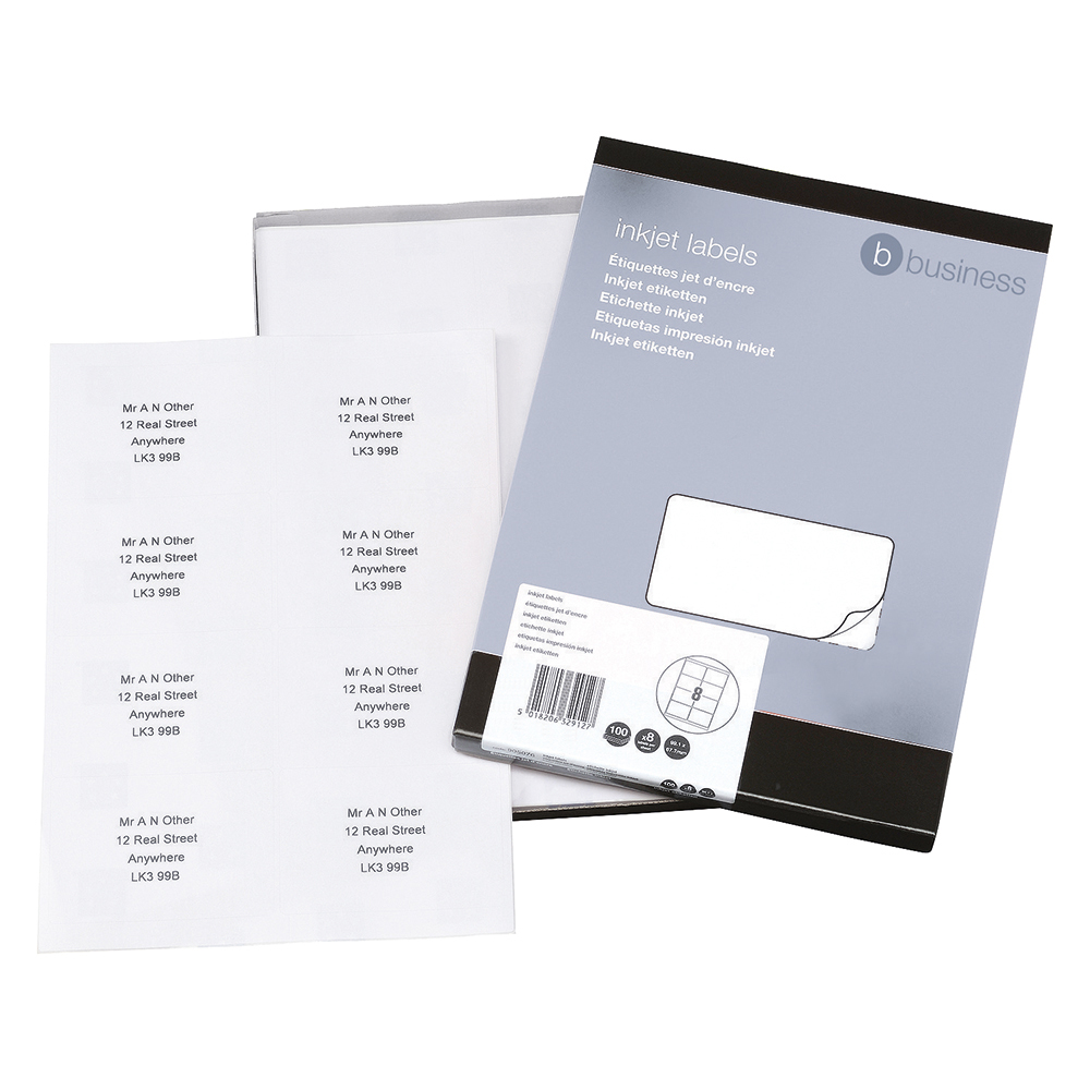 Business Office Addressing Labels Inkjet 8 per Sheet 99.1x67.7mm White 800 Labels