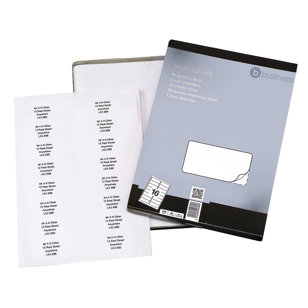 Business Multipurpose Labels 99.1 x 34mm 16 Per Sheet White (Pack of 1600 Labels)