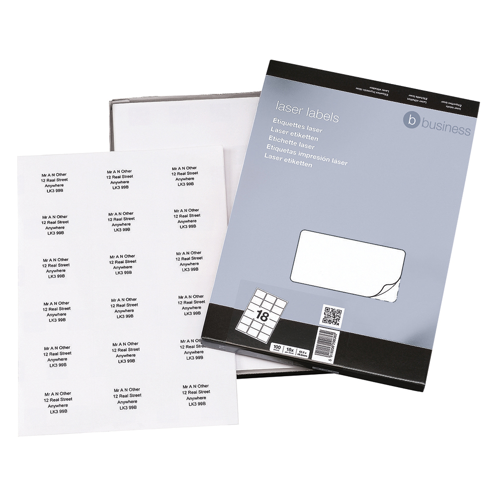 Business White Multipurpose 63.5x46.6mm Laser Labels Pack of 1800