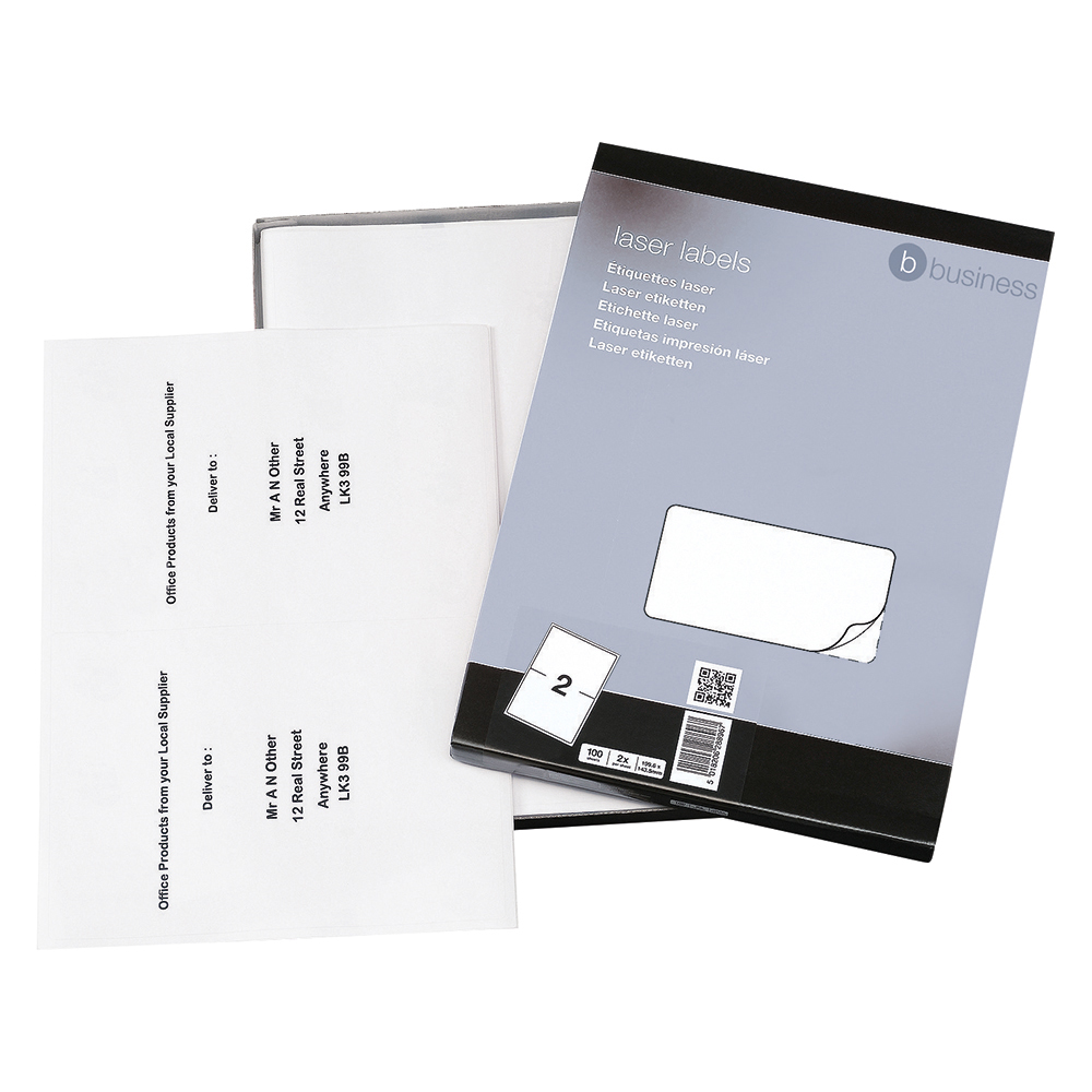 Business Multipurpose Labels 199.6 x 143.5mm 2 Per Sheet White (Pack of 200 Labels)