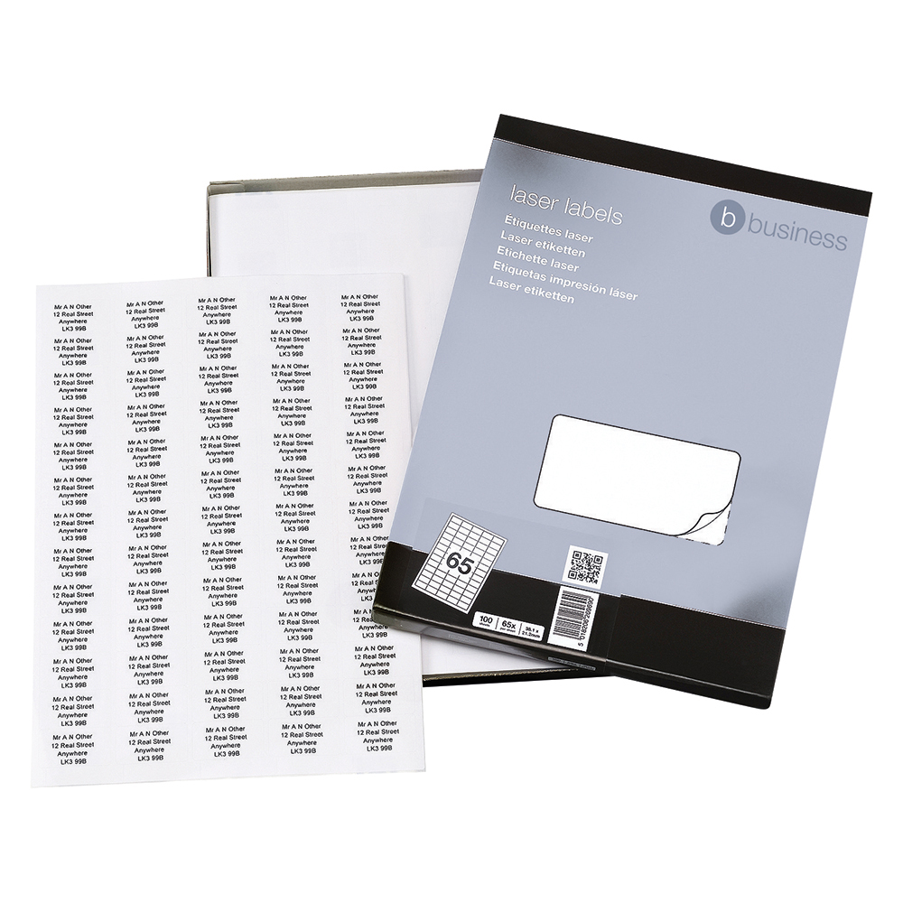 Business Multipurpose Labels 38.1 x 21.2mm 65 Per Sheet White (Pack of 6500 Labels)