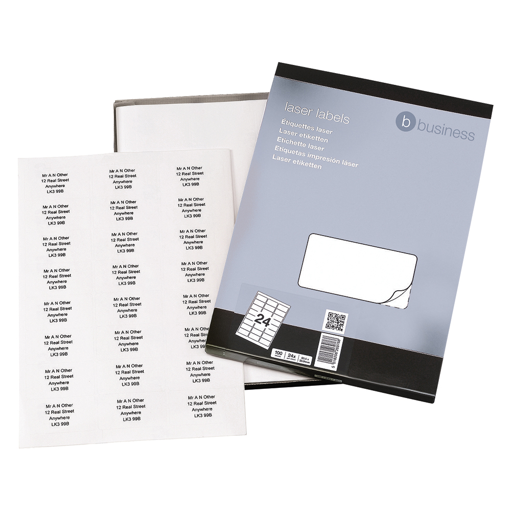 Business Multipurpose Labels 64 x 34mm 24 Per Sheet White (Pack of 2400 Labels)