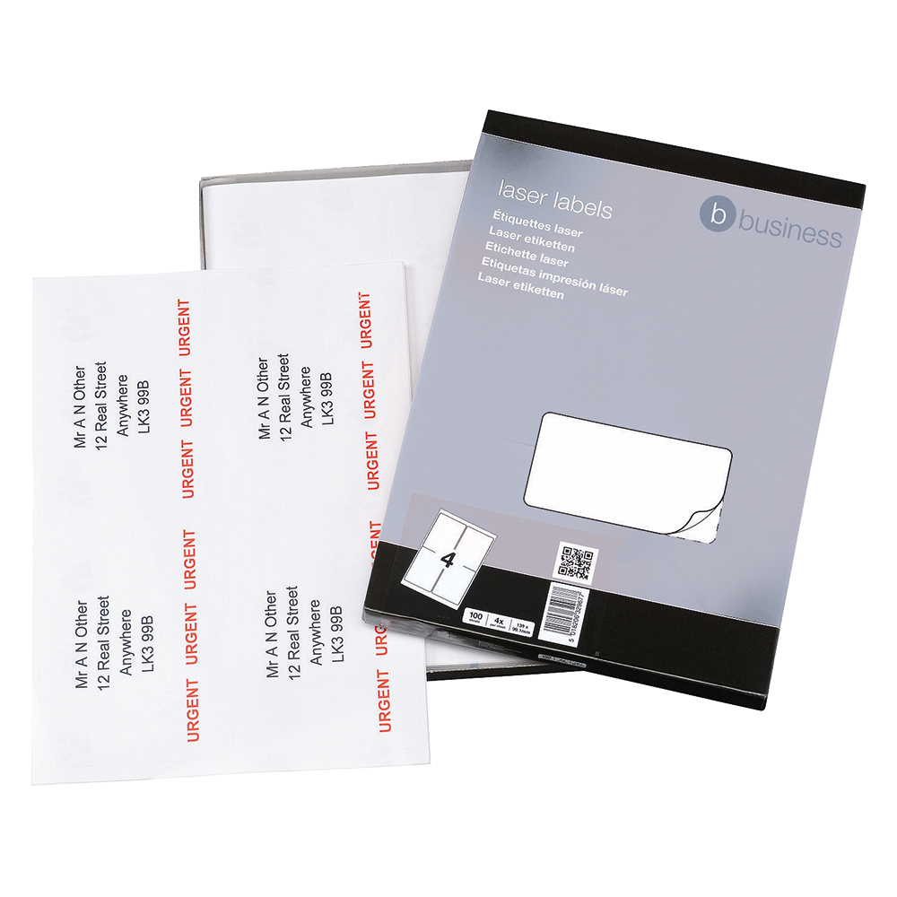 Business Office Multipurpose Labels Laser Copier and Inkjet 4 per Sheet 139x99.1mm White 400 Labels