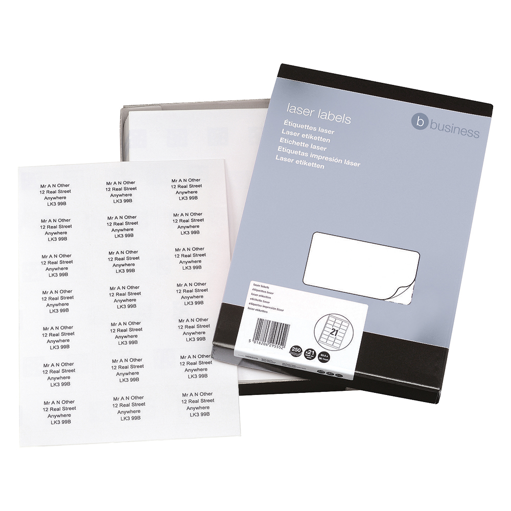 Business White Multipurpose 63.5x38.1mm Laser Labels Pack of 5250