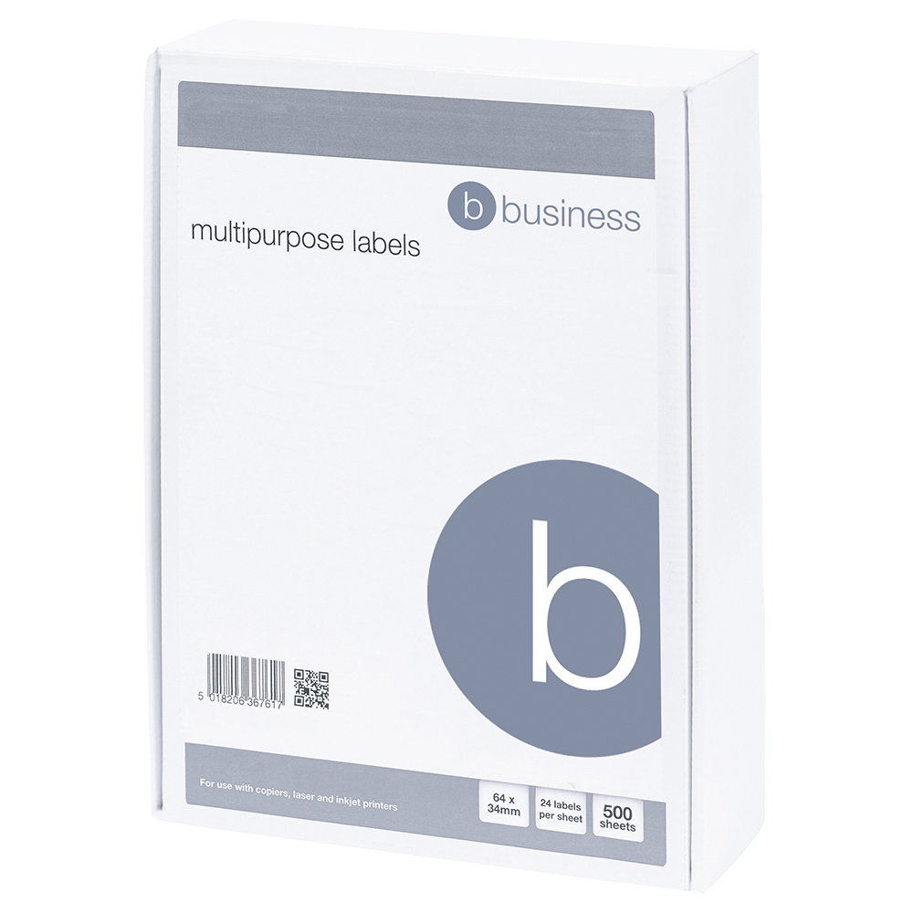 Business White Multipurpose 64x34mm Laser/Inkjet/Copier Labels Pack of 12000