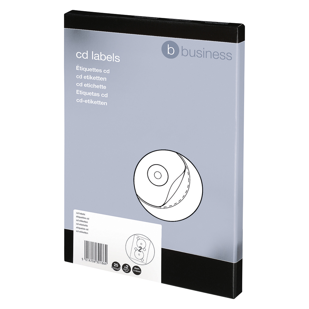 Business Office CD Labels Inkjet and Laser Printable 2 per Sheet 117mm Diameter White 50 Labels