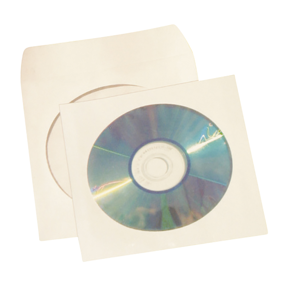 Business CD / DVD / Blue-Ray Disc Envelope Sleeve with Window White (Pack of 50)