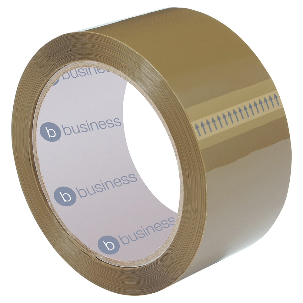 Business Packaging Tape Polypropylene 50mm x 66m Buff (Pack of 6)