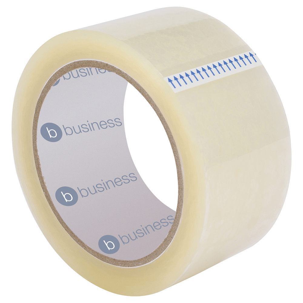 Business Low Noise Packaging Tape Polypropylene 50mm x 66m Clear (Pack of 6)