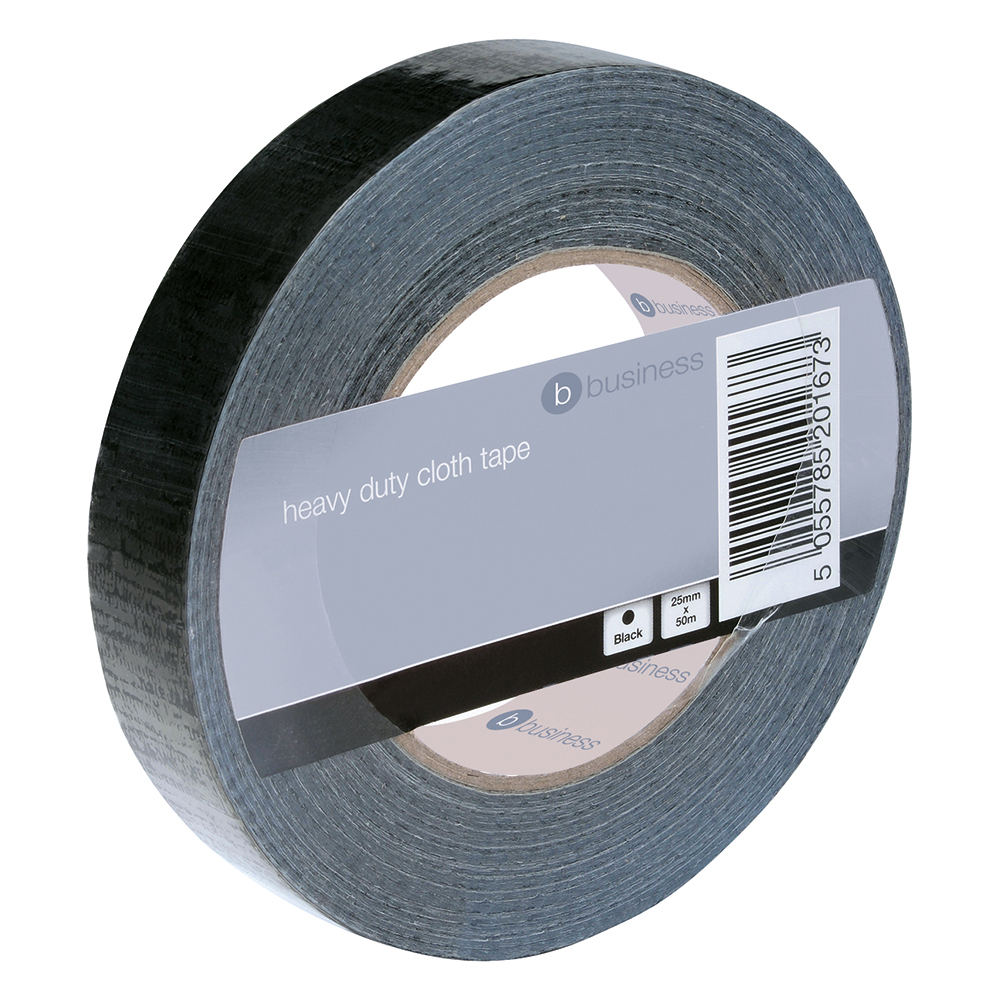 Business Heavy Duty Waterproof Cloth Tape Easy Tear 25mm x 50m Black (Pack of 1)