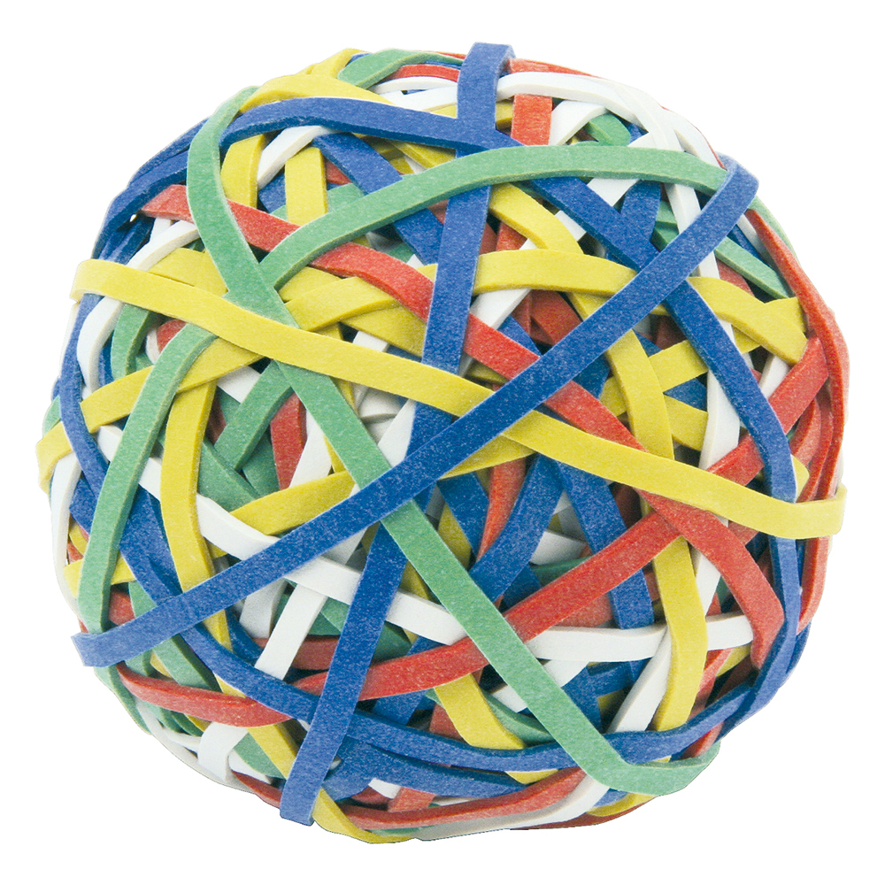 Business Office Rubber Band Ball of 200 Bands Assorted