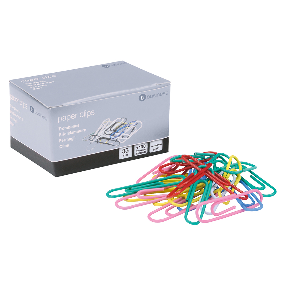 Business Office Paperclips Metal Large Length 33mmm Plain Assorted Colours Pack 10x100