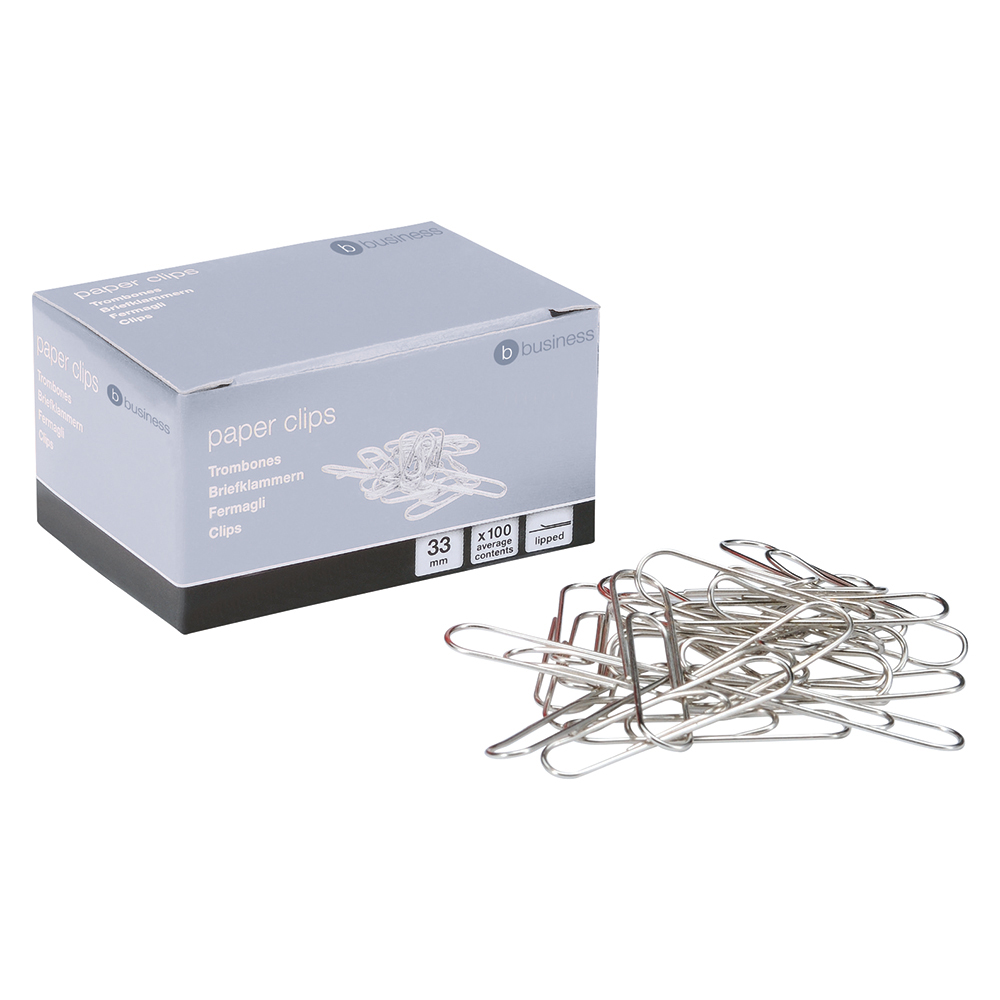 Business Metal Paperclips Large 33mm Lipped (Pack of 10 x 100)