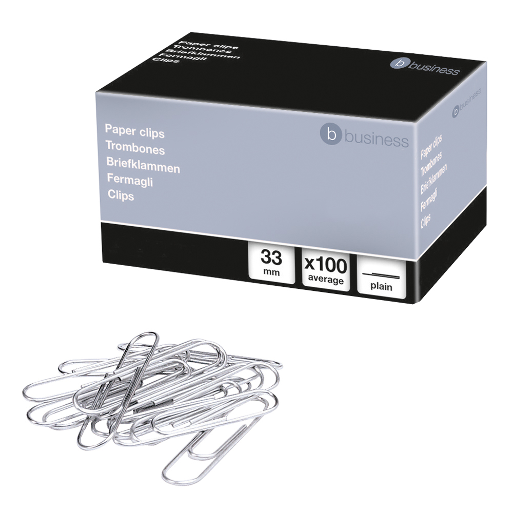 Business Office Paperclips Metal Large Length 33mm Plain Pack 100